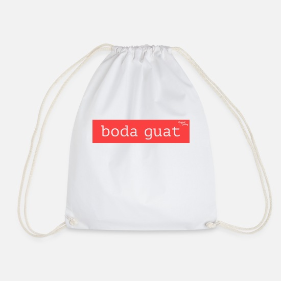 Dialect Bags & Backpacks - boda guat - red - Drawstring Bag white