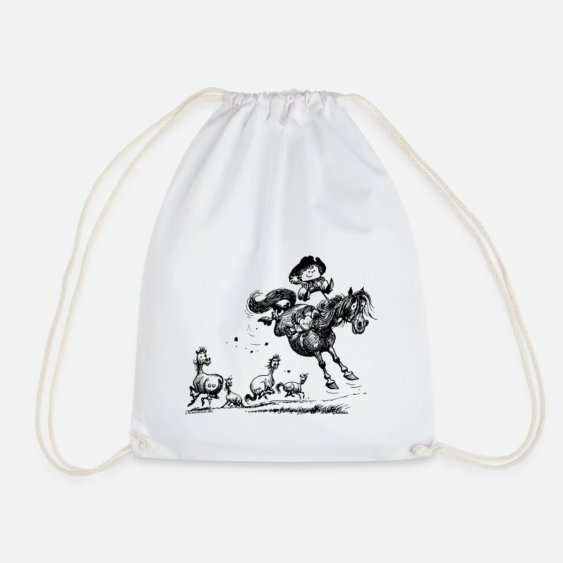 Western Bags & Backpacks - Thelwell 'Cowboy Western riding' - Drawstring Bag white