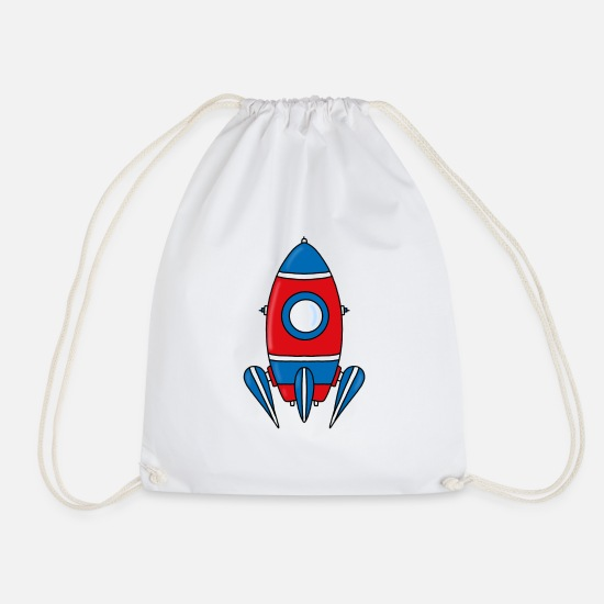 Children Bags & Backpacks - Rocket - Space - Space Shuttle - Drawstring Bag white
