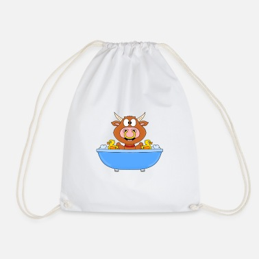 Duck Bull - cow - bull - beef - bathtub - Drawstring Bag