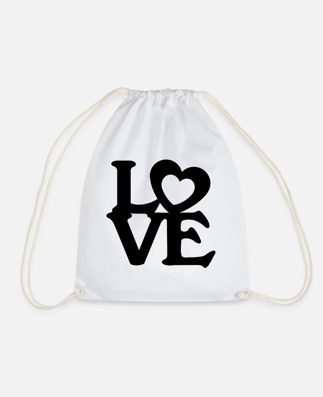Engagement Bags & Backpacks - Heart love valentines day gift couple marriage love - Drawstring Bag white