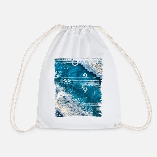 Art Bags & Backpacks - OCEAN - Drawstring Bag white