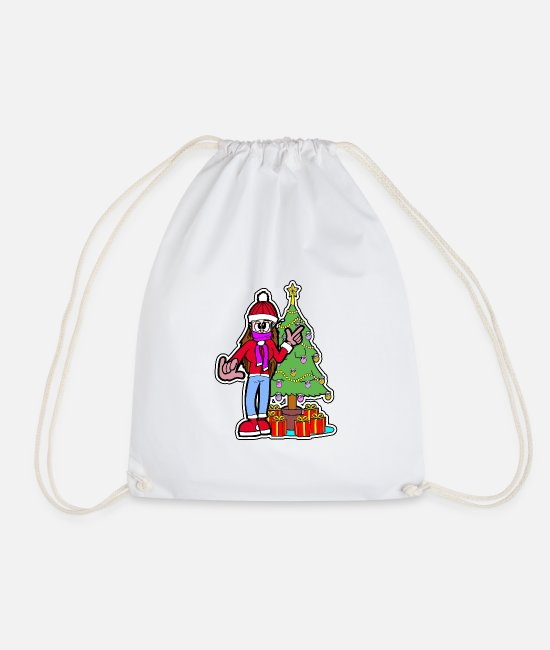 Santa Bags & Backpacks - Miss Christmas - Drawstring Bag white