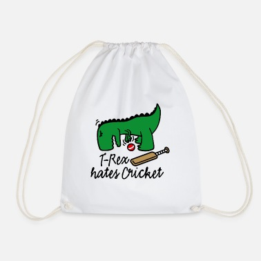 T-Rex hates cricket player dinosaur cricketer - Drawstring Bag