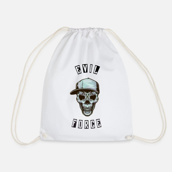 Rap Bags & Backpacks - Skull evil - Drawstring Bag white