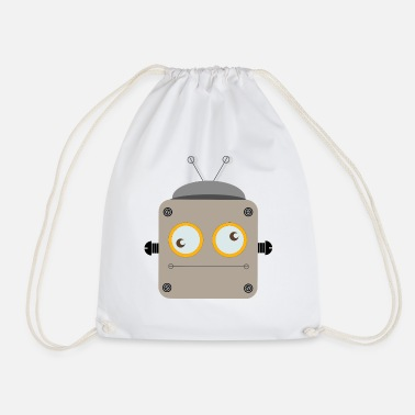 Robot with rolling eyes - Drawstring Bag