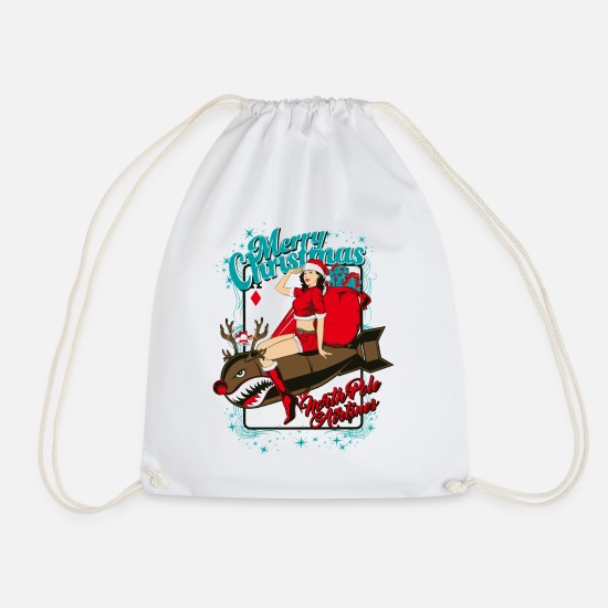 Bombshell Bags & Backpacks - SEX BOMB AIRLINE - Christmas pin-up bombshell - Drawstring Bag white
