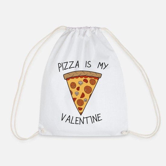 Valentine's Day Bags & Backpacks - Valentine's Day Pizza Is My Valentine Humour - Drawstring Bag white