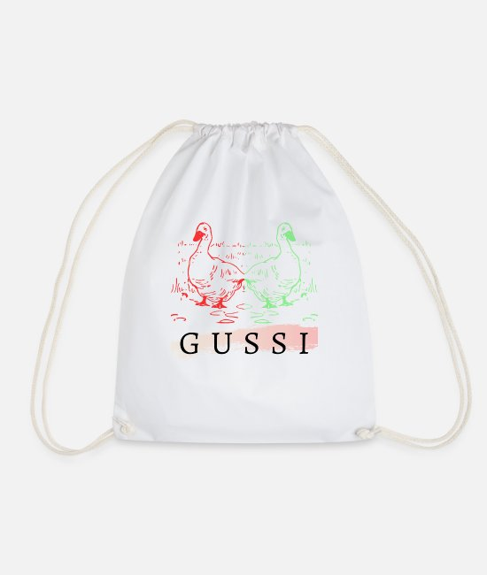 Rubber Duck Bags & Backpacks - Gussi ducks croaking - Drawstring Bag white