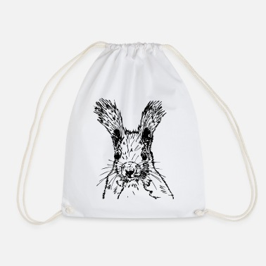 squirrel drawing - Drawstring Bag