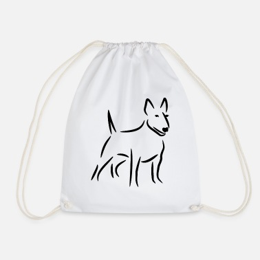Bull Terrier Bull Terrier drawing - Drawstring Bag
