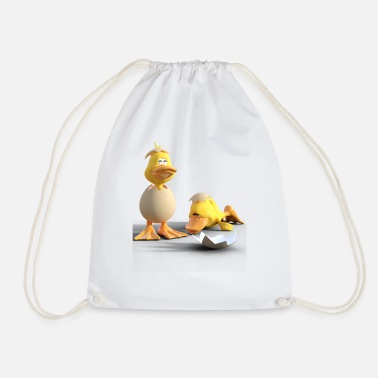 baby ducks in eggs - Drawstring Bag
