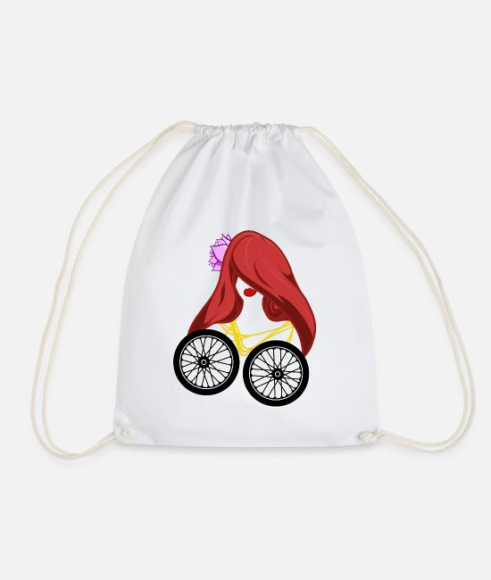 Mountains Bags & Backpacks - Bike Beauty Lady Perfect graphic logo design - Drawstring Bag white