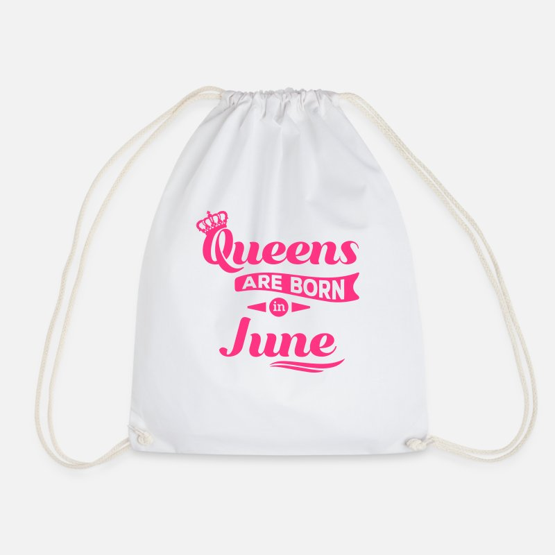 Birthday Apron Bags & Backpacks - Queens are born in june Queen Crown birthday - Drawstring Bag white