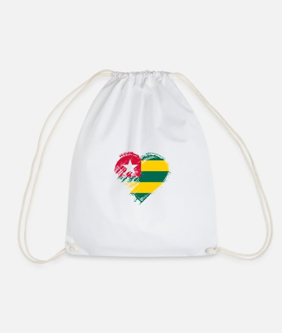 Heart Bags & Backpacks - Grungy I Love Togo Heart Flag - Drawstring Bag white