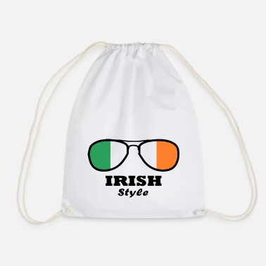 Kiss Me Ireland Flag - Irish Style Glasses - Drawstring Bag