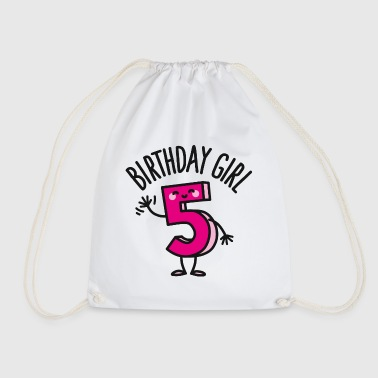 Birthday girl 5 / five years old - Drawstring Bag