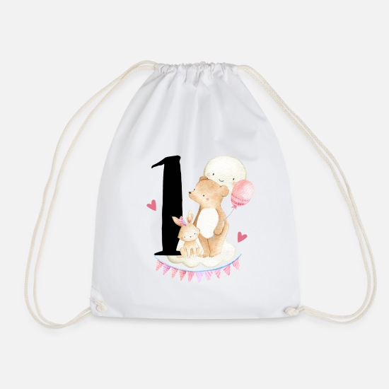 Birthday Bags & Backpacks - 1st birthday, one, first, birthday, first, girl - Drawstring Bag white