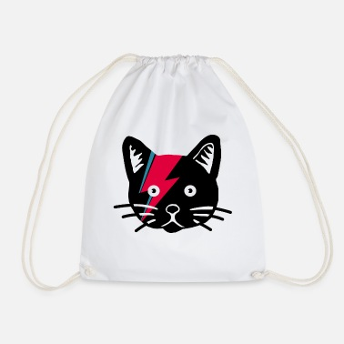 Ziggy the Stardust Cat Shirt Design Illustration - Drawstring Bag