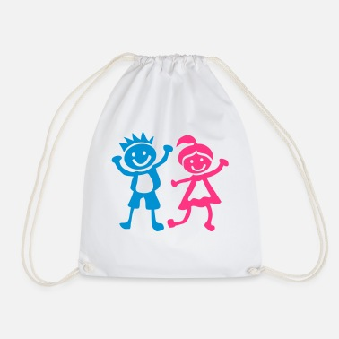 Childrens Drawing Boy girl children drawing 1401 - Drawstring Bag