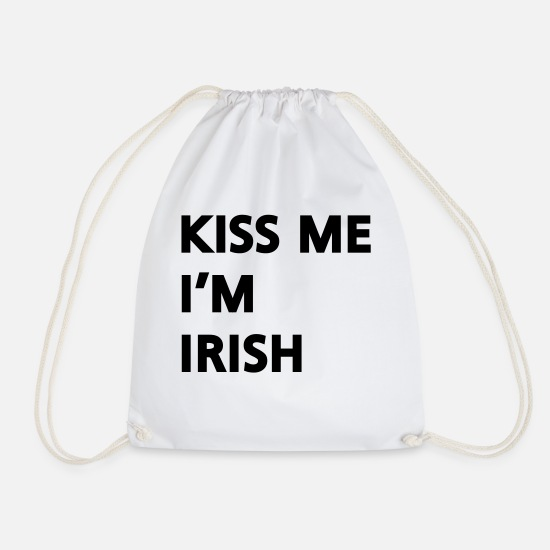 St Patricks Day Bags & Backpacks - Kiss me I'm irish - Drawstring Bag white