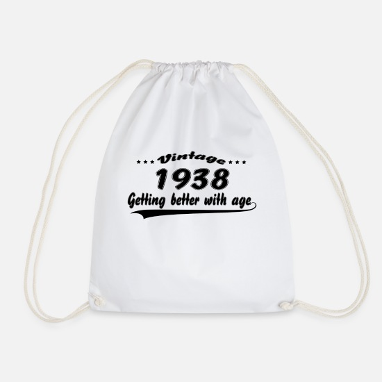 Birthday Bags & Backpacks - Vintage 1938 Getting Better With Age - Drawstring Bag white