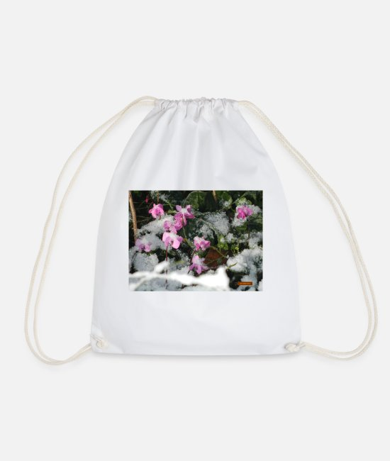 Under Water Bags & Backpacks - cyclamen under the snow - Drawstring Bag white