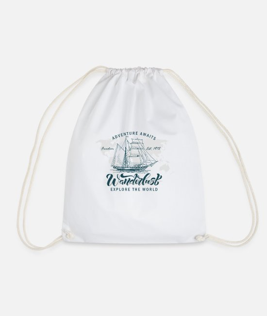Missile Bags & Backpacks - Adventure awaits. Explore the world. - Drawstring Bag white
