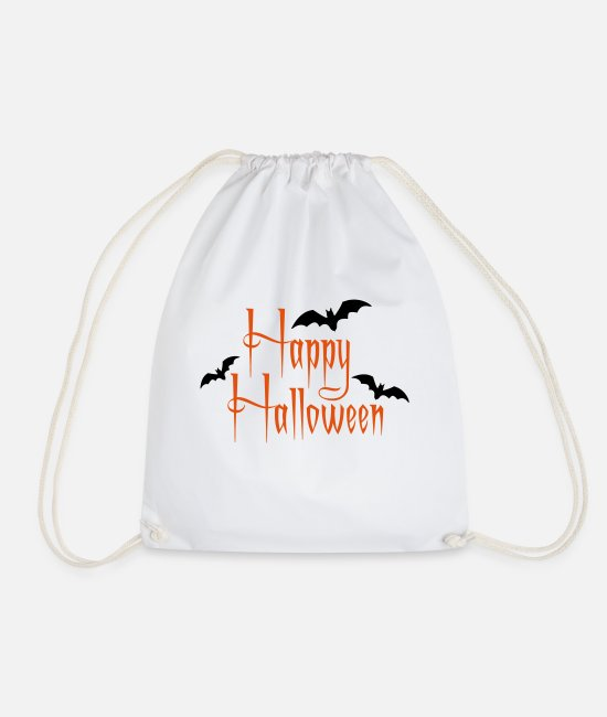 Shudder Bags & Backpacks - Logo Happy Halloween - Drawstring Bag white