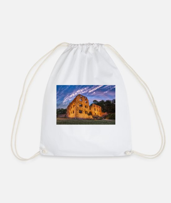 Rhineland-Palatinate Bags & Backpacks - Landskrone castle ruins at blue hour - Drawstring Bag white