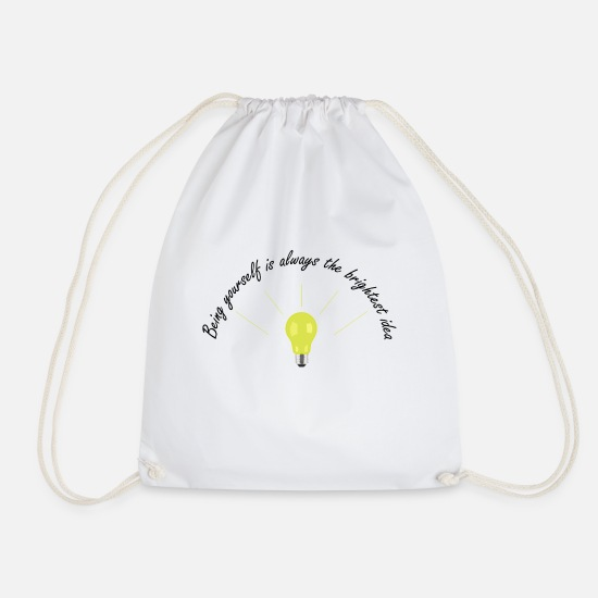 Light Bulb Bags & Backpacks - Bright Idea - Drawstring Bag white