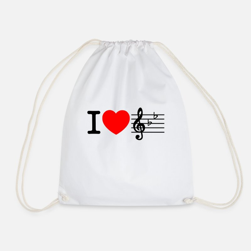 Love Bags & Backpacks - i love music - Drawstring Bag white
