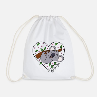Heart Koala Eucalyptus Heart Love Saying Koa-Love You - Drawstring Bag