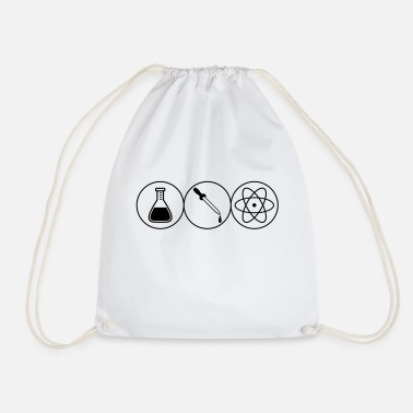 Pipettes pipette atom symbol circle researcher pipette fl - Drawstring Bag
