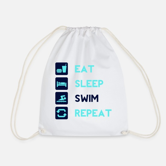 Swim Bags & Backpacks - Eat sleep swim repeat! gift idea - Drawstring Bag white