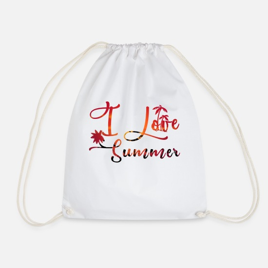 Statement Borse & Zaini - Io amo Summer / I love summer / statement - Sacca sportiva bianco