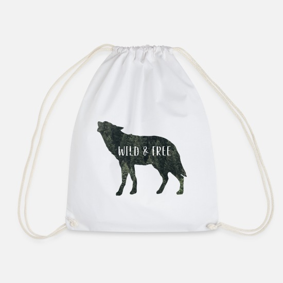Forest Bags & Backpacks - Wild & Free Wolf - Drawstring Bag white