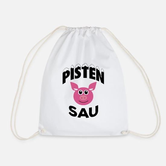 After Ski Bags & Backpacks - Pistensau ski holiday winter vacation - Drawstring Bag white