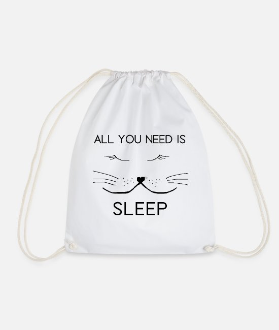 Pet Bags & Backpacks - All you need is sleep shirt design sleeping cat - Drawstring Bag white