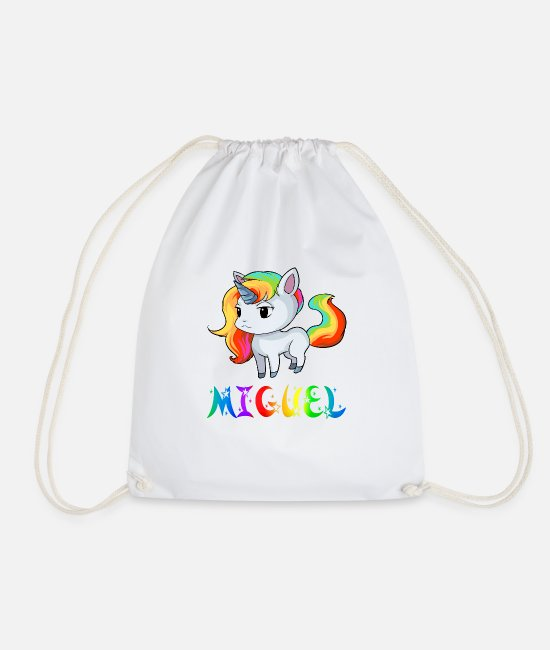 Miguel Unicorn Bags & Backpacks - Unicorn Miguel - Drawstring Bag white