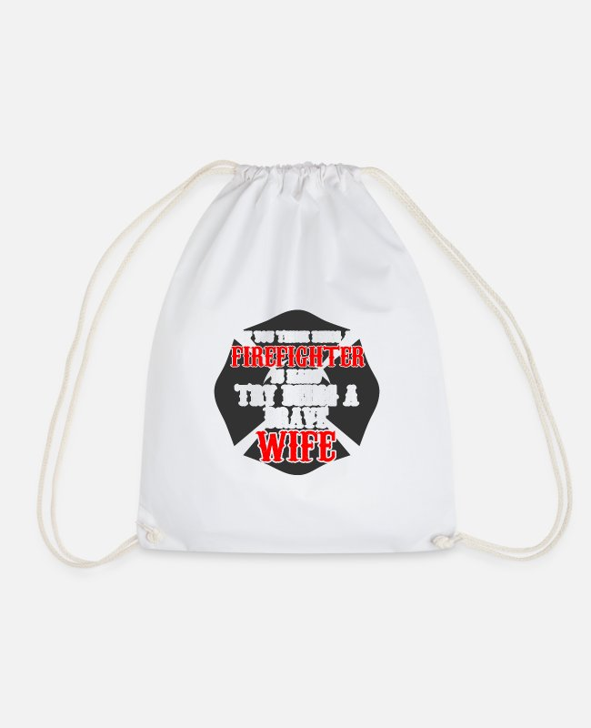 Fire Department Bags & Backpacks - Firefighters firebrigade fire defense defender new ho - Drawstring Bag white