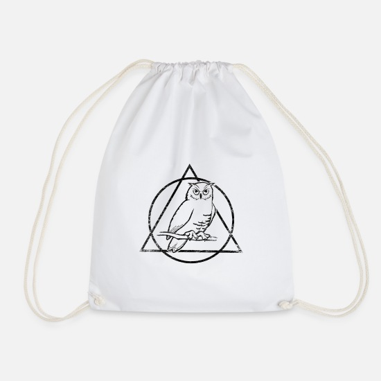 Nocturnal Bags & Backpacks - Owl nocturnal bird wild forest gift - Drawstring Bag white