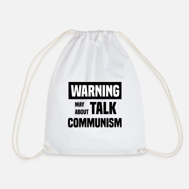Revolution Warning socialism logo communism links - Drawstring Bag