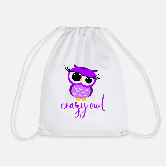 Lover Bags & Backpacks - Crazy Owl Lady Cute Nocturnal Bird Predator Birds - Drawstring Bag white