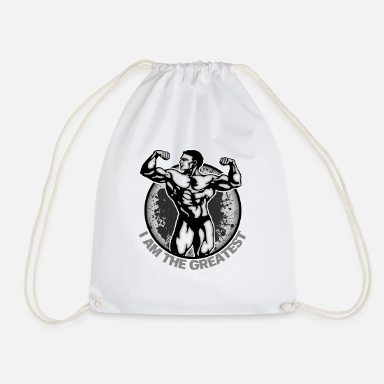 Body Builder Bags & Backpacks - I am the greatest - Drawstring Bag white