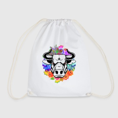 Bull bull head flowers - Drawstring Bag