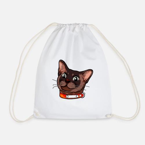 Burmese cat Burma cat Cat face brown Drawstring Bag  6726f3d479d43
