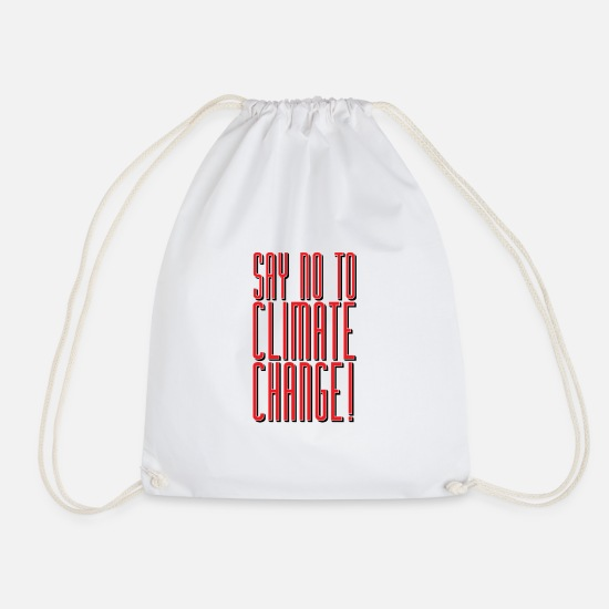 Enviromental Bags & Backpacks - No to climate change - Drawstring Bag white