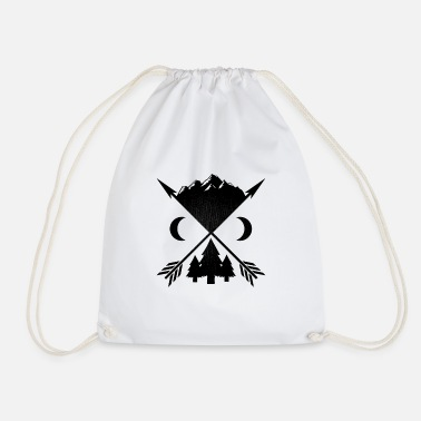 Wilderness Arrows trees and mountains - Drawstring Bag