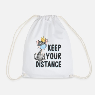 Cat Keep Your Distance keep your distance cat with crown - Drawstring Bag